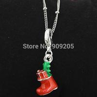 Free Shipping Cute Red Christmas Sock Dangle for Living Locket 20pcs/lot C687