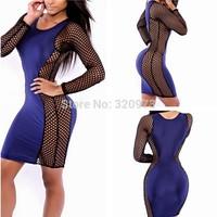 S/M/L size women bodycon dress 2014 new fashion sexy plus size long sleeve club dress women mesh patchwork dress free shipping