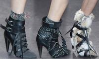 2014 newest autumn ankle boots.  Women Designer Boots  Autumn Winter genuine leather Boots Spike  Fashion High heel Bootie