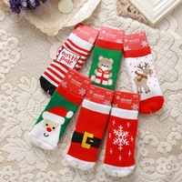 Christmas baby socks autumn and winter thickening baby thermal loop pile cotton baby knee-high socks child socks casual