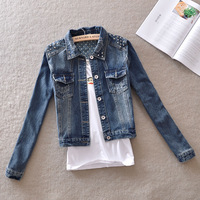 Retro Rivet Finishing Denim Short Jacket Autumn Casual Dark color Long-sleeve Street Motorcycle Outerwear female