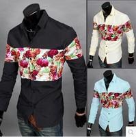 Popular stitching design fashion leisure Men spend shirt  XXL