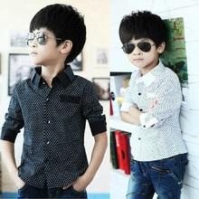 2014 NEW polka dot design long sleeve boys shirts spring & fall turn down collar children shirt boy formal clothes, C235(China (Mainland))