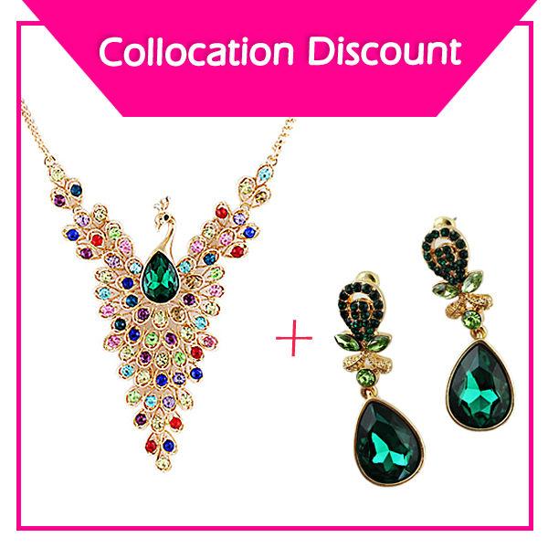 conjuntos de jóias de moda esvazie com strass coloridos pavão colar e brincos gota de água(China (Mainland))