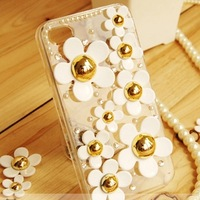 New 3D Bling Pearl Rhinestone Daisy Mobile phone Case Cover for iPhone 4/5S 5C Samsung S3/S4/S5/Note2/Note3/S3 S4 S5 mini Case