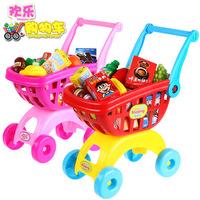 Toy child shopping cart toy supermarket trolley fruit set