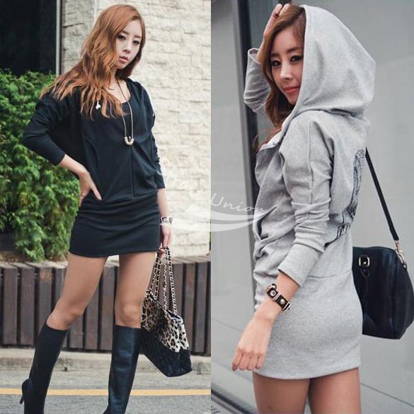 Women Lady Wings Printed Behind long Hooded Zipped Hoodie Coat Sweatshirt hoody dress free shipping(China (Mainland))