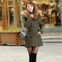 FREE SHIPPING 2014 Jacket Winter Coat Thicken Slim Female Raccoon Fur Collar And Long Coat Women Parka Winter Coat Plus