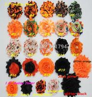 "DHL free 75 yards / lot , hair accessories 2.5"" halloween   frayed shabby chiffon rose flower headband"