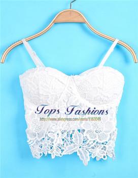 Верх Brand 2014 Desigual FeМиниnes Sexy Белый Spaghetti Strap Floral Crochet Кружево ...