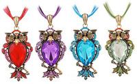 Wholesale 4PCS Retro Good Quality Big Crystal Stone Woman Owl Pendant Necklace