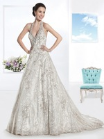 Hlter-Neck Lace Wedding Dresses Bridal Gown in Custom Size:4 6 8 10 12 14 16 18 20++