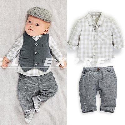 2014 Dropshipping New Newborn baby boy Grey Waistcoat + Pants + Shirts clothes sets Suit 3PCS(China (Mainland))