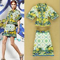 Runway High Street Fashion Women's Turn Down Collar Lemon Print Short Sleeves Dobby Cotton TOP +Pencil Skirt Suit Two Pieces SET