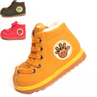 2014 Children winter shoes PU leather snow boots Plush cow thicking boys girls casual shoe free shipping