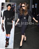 2014 Spring Autumn Winter New fashion Women Work Brief Black Victoria Beckham Dress Long Sleeve Free Shipping hxh