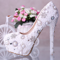 Pearl Beaded  Wedding Shoes White,Women 14CM High Heel Bridal Shoes,Platform Shoes Rhinestone Lady Pumps Free Shipping