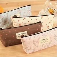 Simple Soft Cotton Countryside Floral Pencil Pen Case bag Cosmetic Makeup Bag Pouch L09354
