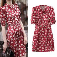 2014 fashion daisy flowers print bow sexy half sleeve high waist one-piece dress female short