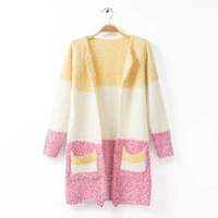 2014 Color block decoration mohair cardigan sweater outerwear female loose o-neck long design outerwear trench