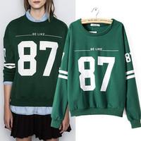 Women Pullover 2014 Autumn Winter Fashion Sweatshirt Long Sleeve Crew Neck Letters Print Casual Green Sport Suit Ladies Hot