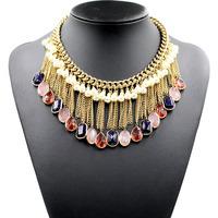 NEW 2014 design chocker collar tassel fashion necklace & pendant chunky bib for women jewelry wholesale