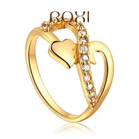 Love Heart Yellow Gold Rings for women,Micro-Inseted with AAA Zircon Crystal,Christmas gift,Fashion Wedding Jewelry,501015294