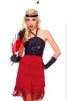 2014 Sexy Black Red Bling Sequin Tassel Fringe Dress 1920s Womens Flapper Costume E8818 Fancy Halloween Party Latin Dance Dress