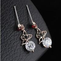 B380 High quality beautiful butterfly Austrian zircon Red crystal Drop Earrings 2014