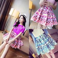 Women Girls High Waist Chiffon Pleated Retro Dress High Waist Bubble Skirt
