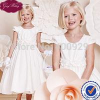 Goingwedding Satin Short Sleeve A-line Puffy Flower Dresses For Girl Of 5 Years Old Flower Girl Dresses For Weddings HT011