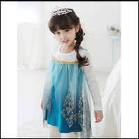 New arrival ,Retail, 2014 hot selling little girls Frozen princess style girls beautiful long sleeves princess dress free ship