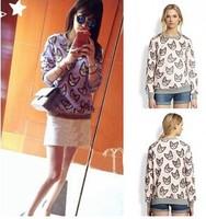 2014 Women Hoodies Cat Printed Pullovers Long Sleeve Sweatshirts for Lady Hoody Loose Sweatshirts YS8590