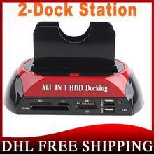 """300pcs/lot 2.5"""" 3.5"""" SATA / IDE 2 Double - Dock HDD Docking Station e- SATA / Hub External Storage Enclosure Parts(China (Mainland))"""