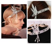 Great Gatsby 1920's Cyrstal Headpiece Hair Band Tiara Daisy 1:1 Replica Vintage Pearl Tassel Bride Hair Hoop Accessories