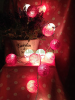 Listed in Stock 6cm 20pcs New Red Series Cotton Ball Night String Lights Thailand Style Lantern for Christmas Party N1078WLPP