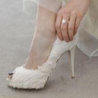 Peep Toe White/Black Lace Wedding Shoes,12CM High Heel Bridal Shoes,Elegant Luxury Brand Bridal Shoes Free Shipping