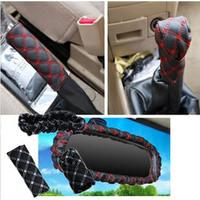 Korean red car handbrake gear sets wholesale partner rearview mirror 3pcs/ sets