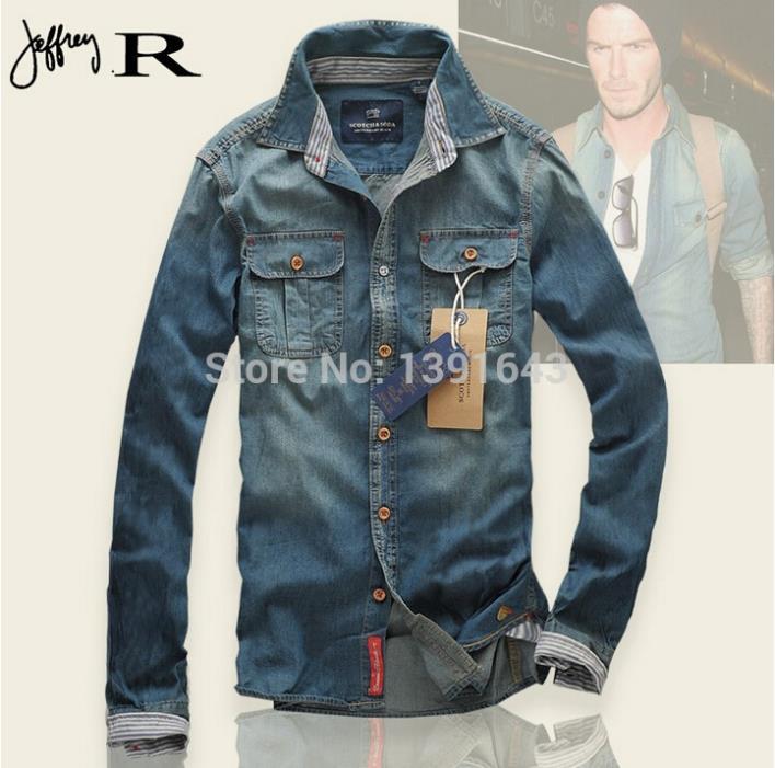 2014 new arrival brand men casual shirts fashion long sleeve denim shirt men Clothing for male thin denim Tops Clothing(China (Mainland))
