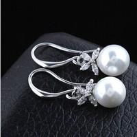 B384 Shell pearl Fashion butterfly Zircon crystal Drop Earrings for women jewelry