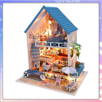 Christmas gift romantic Aegean diy handmade wooden hut assembled model novelty creative birthday gift
