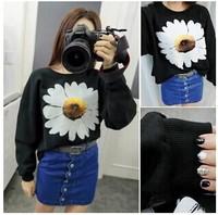 Fashion Women Hoody Flower Printed Pullovers Black Long Sleeve For Lady Loose Sweatshirts YS8592