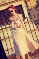 2014 summer dress crimp splice multi ethnic embroidery sleeveless dress big swing maxi dresses with belt