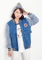 2014 Hitz coat Korean women's casual striped denim jacket slim Was thin baseball stitching clothes influx female