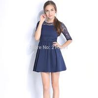 2014 New Fashion women elegant Lace stitching half sleeve mini dress Lady cute brand design party dresses #E847