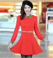 2014 New Fashion Autumn Women's Dresses Elegant Long-sleeve Peter Pan Collar All-match Female Dress