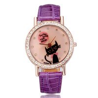 Watches women luxury brand rose gold pu leather strap watches crystal rhinestones cute cat fashion casual designer dropship
