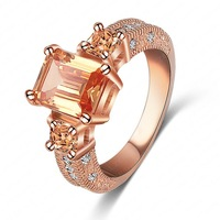 Hot sale Fashion The White/  Rose / Gold  Plated Rectangle Brilliant Cut CZ Zircon Engagement Rings Women Crystal jewelry