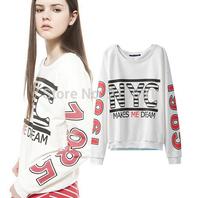2014 New fashion Europe Women individuality letter printed long sleeve Sweatshirts Lady fashion casual street wear#E848
