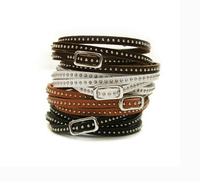 New fashion multilayer thin rivet leather wrap bracelet leather punk bangles/bracelets for women pulseira de couro